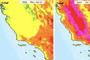 La proyección de riesgo por calor del Servicio Nacional de Meteorología demuestra la peligrosidad de las temperaturas para la salud de los residentes de la región, así como también los riesgos de incendios forestales.