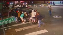 Revelan imágenes del violento choque de un conductor contra un auto en el que viajaban siete niños