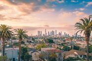 Beautiful,Sunset,Of,Los,Angeles,Downtown,Skyline,And,Palm,Trees