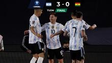 ¡Noche redonda! Argentina golea con hat-trick de Messi y alarga racha
