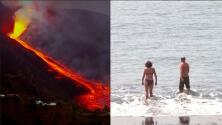 Un peligroso contraste: mientras un volcán arrasa con una isla, estos los bañistas disfrutan de sus playas