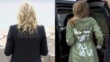 El mensaje viral de la chaqueta de Jill Biden y que comparan con el de Melania Trump