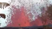 Volvió a casa a por sus cosas y se encontró con una impactante fuente de lava en el patio