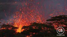Impresionantes imágenes de las fuentes de lava que emanan de las fisuras de volcán Kilauea