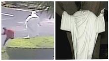 Captado en cámara el momento cuando decapitan la estatua de Jesús en una iglesia de Miami Shores