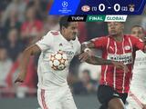 PSV Eindhoven desaprovecha que Benfica se queda con 10 jugadores y es eliminado