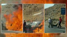 Hombres arriesgan su vida para salvar a pareja de ancianos de auto en llamas