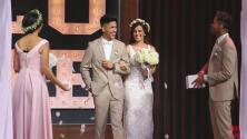 Anthony y Laura reiteraron su amor en el show: partieron el pastel, lanzaron el ramo y la liga de la novia