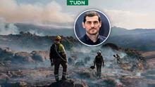 Iker Casillas ayuda a extinguir incendio forestal en España