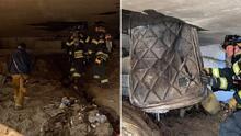 Tras apagar incendio, bomberos descubren que una persona vivía dentro de un puente