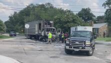 Tráiler semirremolque se incendia y explota en medio de un vecindario en San Antonio