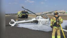 Un helicóptero cayó a la pista minutos después de despegar sin dejar heridos