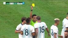 Tarjeta amarilla. El árbitro amonesta a Rodrigo de Paul de Argentina