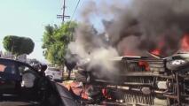 Revelan nuevas imágenes del accidente y la explosión que deja dos personas muertas en Los Ángeles