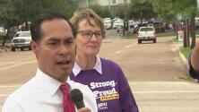 Líderes comunitarios se manifiestan en el centro de Houston para exigir el cierre de refugios de menores