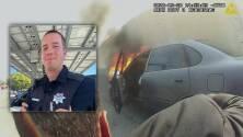 Policía hispano rescata a hombre dentro de un auto en llamas