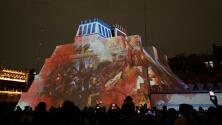 Maqueta monumental del Templo Mayor brinda un espectáculo de luces en el Zócalo de la CDMX