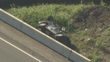 Vehículo con niños termina volcado al noreste de Houston
