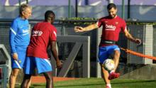 Dembélé y Agüero vuelven a ejercitarse con el grupo en el Barcelona