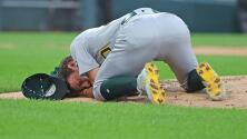 Lanzador de los Athletics, hospitalizado tras pelotazo en la cabeza