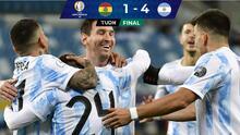 Con doblete y asistencia de Messi, Argentina golea a Bolivia