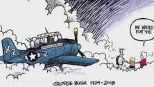 Esta caricatura de George H. W. Bush llegando al cielo causa conmoción en redes