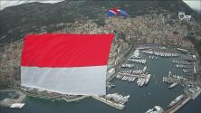 ¡El principado desde las alturas! La Bandera de Mónaco voló por los cielos previo a la Fórmula 1