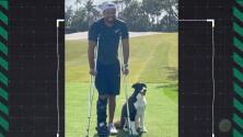 Reaparece Tiger Woods en muletas y con una gran sonrisa