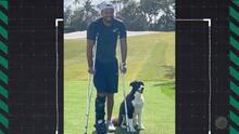 Tiger Woods se deja ver en muletas tras el accidente de auto