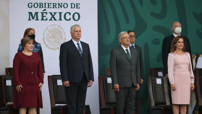 Activistas piden libertad para los presos políticos en medio de la visita de Miguel Díaz-Canel a México