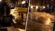 Así se vio la inundación causada por una tubería de agua rota en el sur de Filadelfia