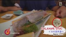 ¡Comida exótica! El criticado Ikizukuri, calamar vivo