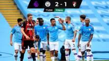 Con lo justo, el City venció al Bournemouth y lo dejó al borde del abismo