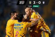 Tigres vence 3-0 a Pachuca sin el acelerador a fondo