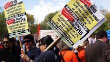 Trabajadores y activistas conmemoraron el Día del Trabajo con multitudinarias marchas en Manhattan