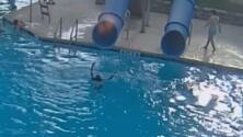 En cuestión de segundos, un salvavidas rescata a una pequeña que se ahogaba en una piscina