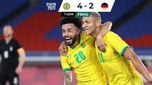 Brasil sufrió al final pero superó a la selección alemana