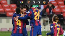 Valencia echa a perder festejo histórico de Messi con el Barça