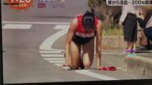 Atleta japonesa terminó carrera sangrando y gateando tras sufrir fractura