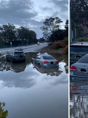 <b>South San Francisco.</b> Una inundación dejó tres vehículos atascados en el bulevar Westborough hacia la I-280. La zona fue cerrada este lunes por la mañana hasta que baje el nivel del agua. <br>