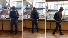 (Video) Hombre se orina en mostrador de tienda de helados tras pedirle que se pusiera su mascarilla