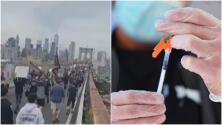 Miles de manifestantes cruzan el puente de Brooklyn protestando contra el mandato de vacunación