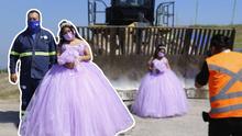En un basurero: Quinceañera orgullosamente hace sesión de fotos en el lugar donde trabaja su papá