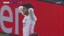 ¡Primera y al poste! Asensio se queda cerca del 0-1 del Real Madrid
