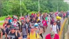 Intentan bloquear caravana de familias migrantes que tratan de llegar a EEUU a través de México