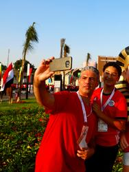 Soccer Football - Africa Cup of Nations 2019 - Group A - Egypt v Zimbabwe - Cairo International Stadium, Cairo, Egypt - June 21, 2019 Egypt fans pose for a selfie outside the stadium before the match REUTERS/Amr Abdallah Dalsh