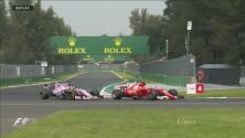 Vettel derrapó en la curva y rebasó a 'Checo' Pérez