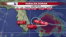 La nueva trayectoria de Dorian según el último reporte
