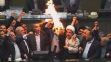 Legisladores iraníes prendieron fuego a la bandera estadounidense