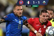 ¡Italia deja ir puntos en casa! Bulgaria le arranca 1-1 con los dientes